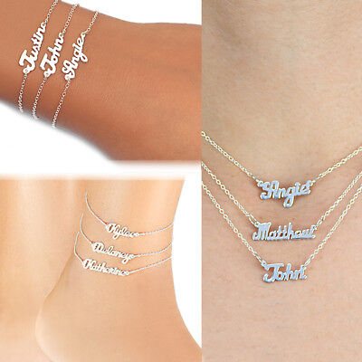 Personalized Any Name Silver and Gold Mini Name Plate Necklace Ankle Bracelet