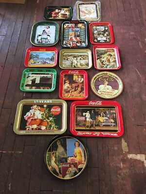 Coca-Cola Advertising Tray Trays Mixed -Lot Of 14- Official Coke Metal