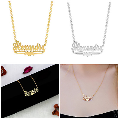 Personalized Sterling Silver Any Name Plate Script Necklace with Heart
