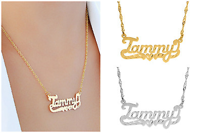 Personalized Sterling Silver Script Any Name Plate Necklace with Diamond Cut