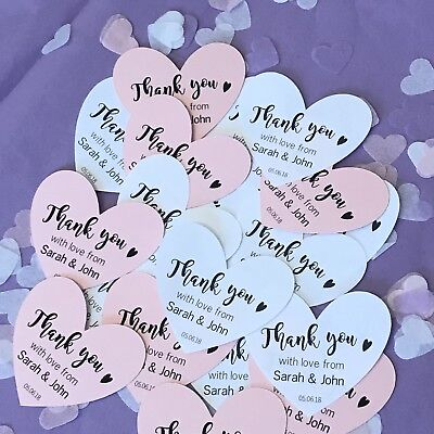 Personalised Heart Wedding Favour Thank You Tags - Ivory Cream White Kraft Pink