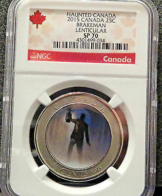 2015 Canada Haunted Brakeman Ngc Sp70 Lenticular Crown Quarter Sold Out Rare !