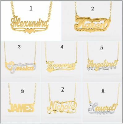 Personalized Sterling Silver Gold Any Name Plate Script Chain Necklace 8 Styles
