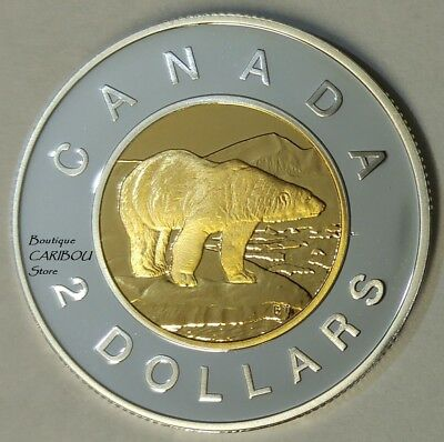 2000 Canada Silver Proof Toonie, 24 Kt Gold Plated