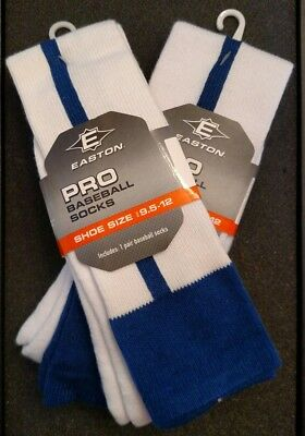 Lot of 2 pair! EASTON PRO BASEBALL SOFTBALL SOCKS MENS 9.5 -12 THIN BLUE STRIPE