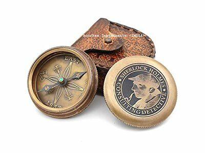Vintage Brass Compass with Leather Case/ Sherlock Holmes Directional Magnetic