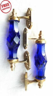 2Pc Vintage Antique Style Beautiful Crystal/cut Glass Door Handles, Collectible*