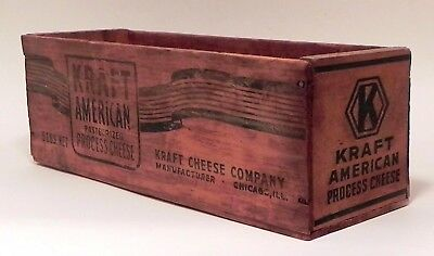 Vintage Wooden Wood KRAFT CHEESE BOX Dairy Container 1930's - Held 5 lbs. Cheese