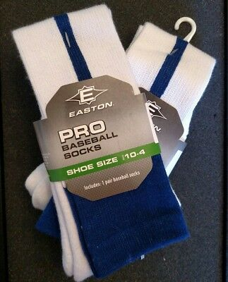 Lot of 2 pair! EASTON PRO BASEBALL SOFTBALL SOCKS YOUTH 10 - 4 THIN BLUE STRIPE