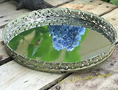 Vintage Gold Metal Ornate Vanity mirror Perfume Table tray Victorian Filigree