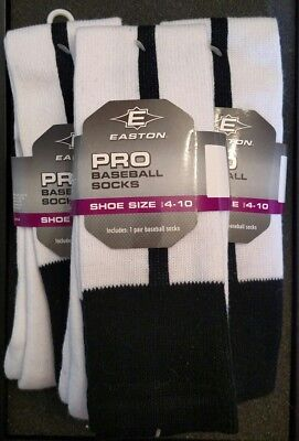Lot of 3 pair! EASTON PRO BASEBALL SOFTBALL SOCKS MENS 4 - 10 THIN BLACK STRIPE
