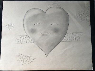 """SHY HEART """"1 of 1"""" vintage drawing"""