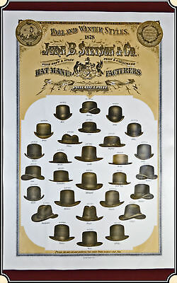 1878's Stetson  Fall and Winter Hat Styles - Promotional Advertising Poster