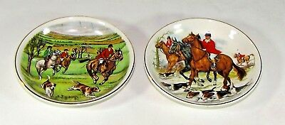 Two 2 Small Fox Hunt Hunting Plates Crown Staffordshire 1801