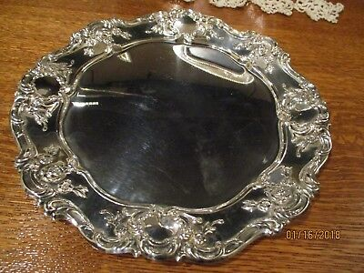 "Vintage Towle  ""Old Master"" Silverplate Tray with Roses and Scrolls Round 11 in"