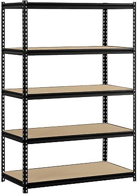 Adjustable Steel Muscle Rack Shelving 5 Shelf Garage Storage Unit 72 x 48 Black
