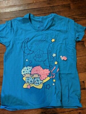 Loot Crate Wear Little Twin Stars V-Neck XL Blue T-Shirt Sanrio Hello Kitty NEW