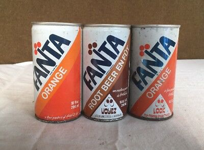 Rare Vintage Fanta 10oz Can Lot Of 3 Canada Orange Draft Root Beer Coca Cola