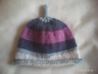 Hand Knitted Baby's Loveable Striped Hat Size 0-3 Months