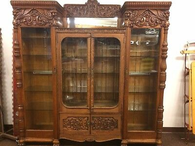 Antique Large Carved Oak Glass Doors Bookcase/Curio/China Cabinet 3 Piece