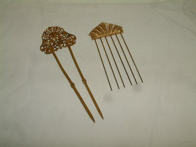 2 Antique Vintage Ornate Victorian Style Hair Comb Picks