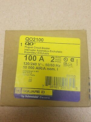 NEW  Square D QO2100 100 Amp Two Pole QO Circuit Breaker 120/240V