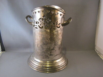Tall Silver Plate? Silverplate ? Pierced Etched Wine Bottle Coaster / Holder