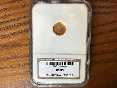 1849 $1 Gold Coin NGC AU-58 Open Wreath