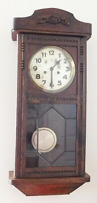 "Beautiful 32""  Vintage Germany M.L.P. Mauthe ? Oak Wall Clock Working Cond Bevel"