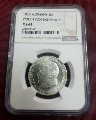 1957 J Germany 5 Mark Joseph Von Eichendorff Ngc Ms64