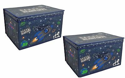 2 x Large Children Clothes Laundry Storage Box Kids Toy Tidy Box Chest Rockets