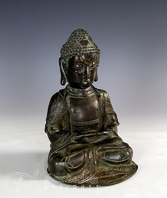 Antique Chinese Bronze Statue Of A Seated Buddha
