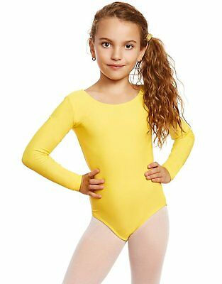 Leveret Girls Yellow Long Sleeve Leotard Variety of Colors (2 Toddler -14Y)
