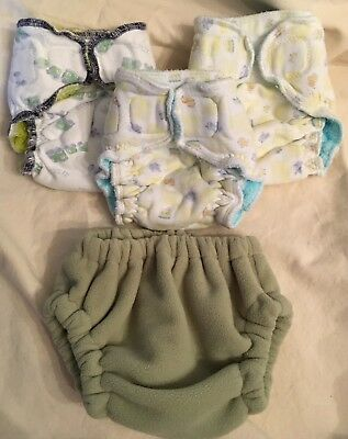 Lot Of 3 Fitted Newborn 1 Fleece Hidden Pearl Creation XS Cloth Diaper Cover