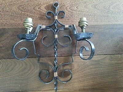 Vintage Single French Wrought Iron Wall Light Sconce From France