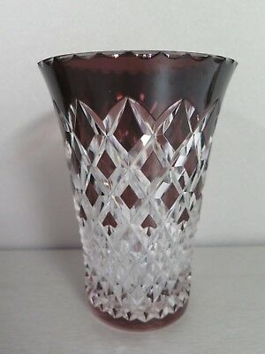 Val St Lambert Amethyst Purple Cut To Clear Crystal Glass Vase - Signed