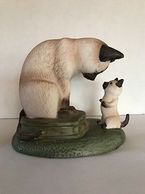 """Siamese Cat and Kitten Figurine- REALLY CUTE!! """"The Mom look"""""""