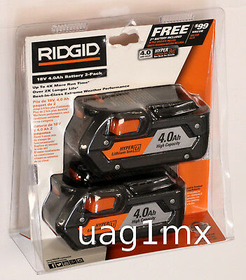 NEW  Ridgid AC840087P Lithium-Ion 18V 4.0Ah Battery Pack of 2