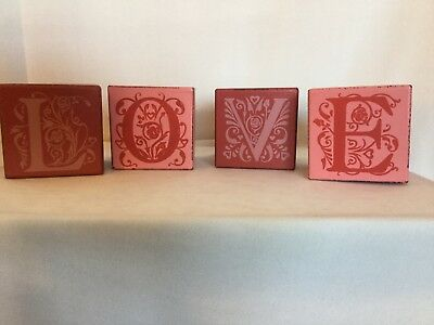 Wooden L O V E blocks Valentine decor red and pink