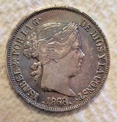 1868 Philippines 10 Centimos KM# 145 .900 Silver Coin