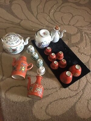 Estate Lot Of 5 Antique Small Teapot With Cups 19th Century?? Must See