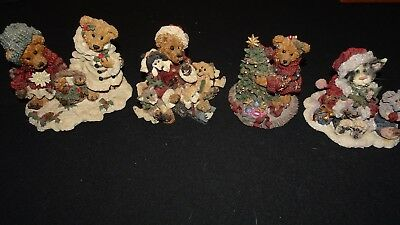 Boyd's Bears And Friends Numbered Resin Figurines, lot of 4 pieces