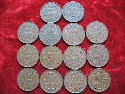Lot of 14 All Diff Canada Cents 1920,21,27,28,29,31,32,33,34,35,36,37,38 & 1939!