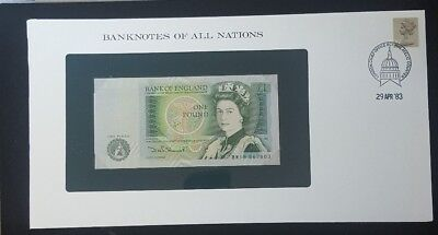 """Great Britain ~1981-84 ~ 1 Pound Note ~ Cu ~ """"banknotes Of All Nations"""""""