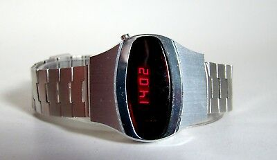 BELTIME WATCH SWISS LED Unisex Digitaluhr rote Digits Space Age 60er TOP & RARE