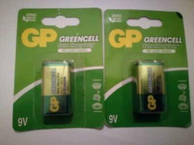 2 x GP GreenCell 9V Batteries MN1604 6LR61 PP3 BLOCK 6F22 EXTRA HEAVY DUTY