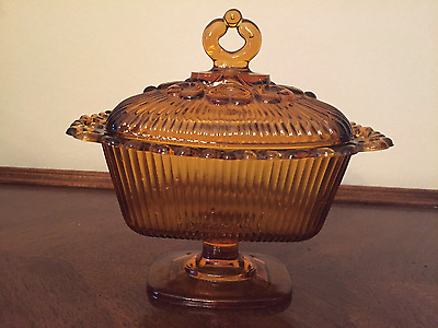 Retro Classic Vtg Amber Indiana Glass Pedestal Candy Dish With Lid