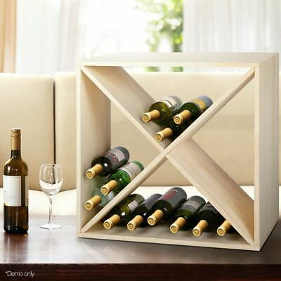 Artiss 24 Bottle Timber Wine Rack Wooden Storage Cellar Vintry Organiser Stand
