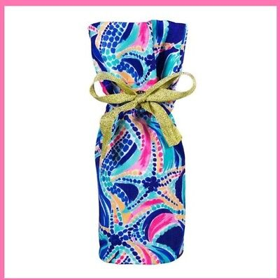 Lilly PULITZER WINE TOTE bag Ocean Jewels Brand New Gold ribbon 2 available New