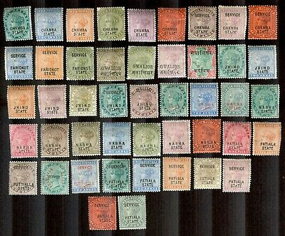 India States--46 Mostly Mint Light Hinge to Mint Hinge Stamps